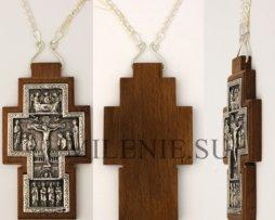 Крест наперсный серебряный на дереве с цепью
