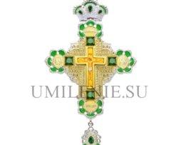 Крест наперсный серебряный с украшениями и цепью