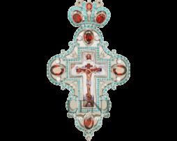 Крест серебряный с украшениями и цепью