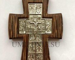 Крест латунный в серебрении в дереве без цепи