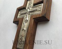 Крест наперсный латунный в серебрении в дереве без цепи