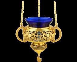 Лампада подвесная латунная в позолоте