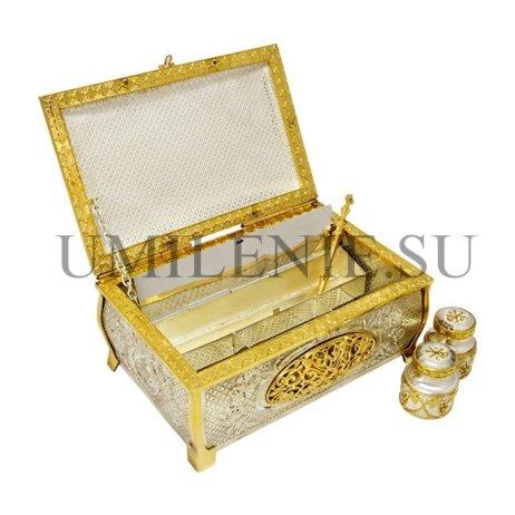 Крестильный ящик латунный в серебрении