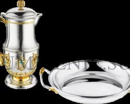 Набор для омовения рук латунный в серебрении
