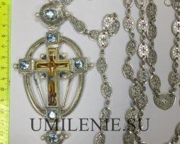 Крест наперсный серебряный со вставками и эмалью с цепью 120 см.