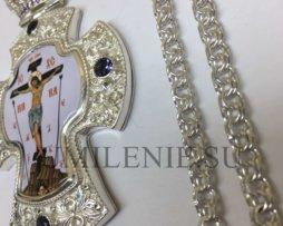 Крест наперсный латунный в серебрении с украшениями и цепью