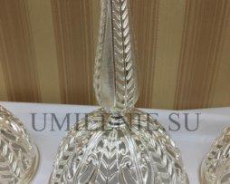 Напрестольный набор из латунных лампады и подсвечников в серебрении