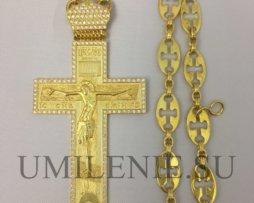 Крест серебряный с позолотой с цепью 120 см