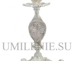 Подсвечник настольный латунный в серебрении