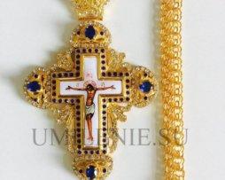 Крест наперсный с украшениями с цепью 120 см