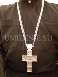 Комплект: крест и панагия серебряные с цепями