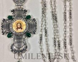 Крест наперсный из британского металла в серебрении с цепью 140 см