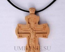 Крест нательный деревянный на шнурке