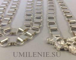 Цепь церковная латунная в серебрении 120 см