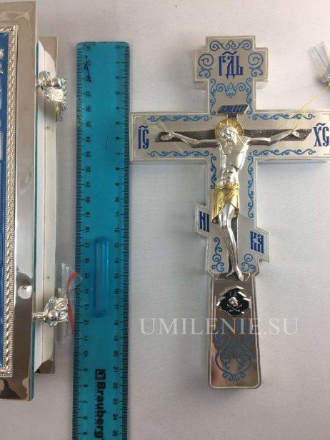 Требный крест латунный в серебрении