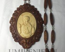Панагия деревянная «Знамение Пресвятой Богородицы» с цепью