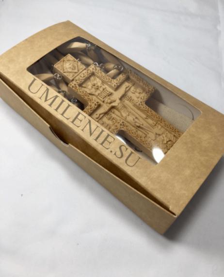 Крест наперсный деревянный с цепью в льняном мешочке и картонной коробке