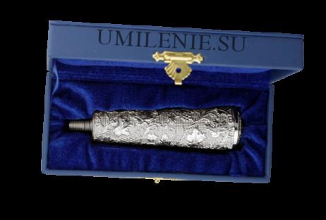 Ручка посоха латунная в серебрении
