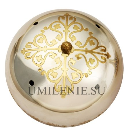 Крышка на дискос из латуни в серебрении для сохранения святых частиц