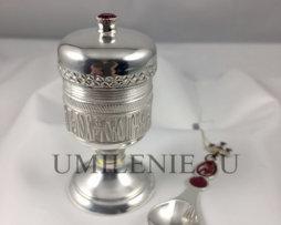Потир латунный в серебрении на 15 мл. с малой лжицей