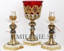 Напрестольный набор: лампада и подсвечники латунные