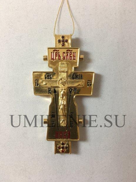 Параманный крест-мощевик латунный в позолоте
