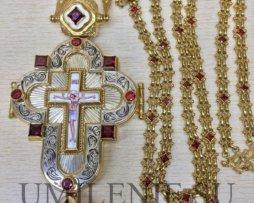 Крест-мощевик наперсный серебряный в позолоте с цепью