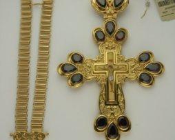 Крест наперсный серебряный с цепью