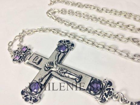 Крест наперсный из британского металла в серебрении с цепью