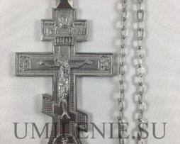 Крест наперсный из британского металла без покрытия с цепью