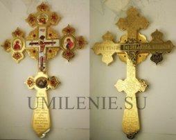 Крест напрестольный латунный в позолоте