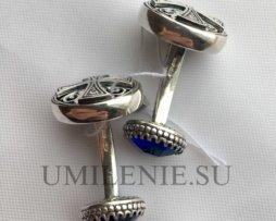Запонки серебряные со вставками камней-фианитов