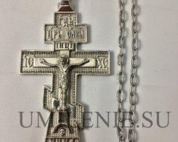 Крест наперсный из британского металла никелированный с цепью