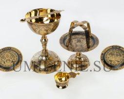 Евхаристический набор серебряный с потиром на 1,5 литра