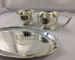 Набор для архиерейской запивки латунный в серебрении