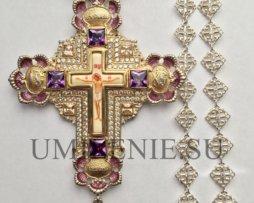 Крест наперсный серебряный с финифтевым распятием и с цепью