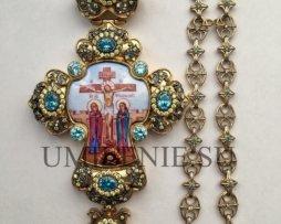 Крест наперсный серебряный в позолоте с финифтевым распятием с цепью