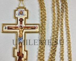 Крест иерейский латунный в позолоте с цепью (эмаль)