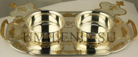 Набор для запивки латунный в серебрении с фрагментарной позолотой