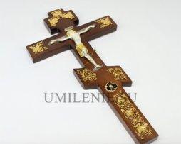 Крест напрестольный деревянный с латунным Распятием