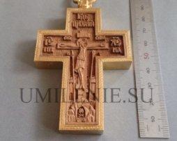 Крест наперсный деревянный в латунном позолоченном окладе с изображением св. Георгия Победоносца с цепью
