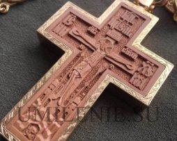 Крест наперсный деревянный в латунном позолоченном окладе