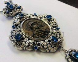 Панагия латунная в серебрении с цепью