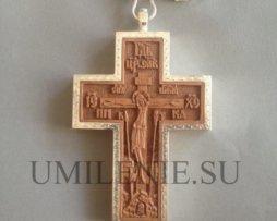 Крест наперсный деревянный в серебряном окладе с изображением преп. Силуана Афонского с цепью