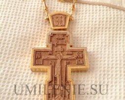 Крест наперсный деревянный в позолоченном окладе с цепью