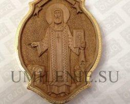 Панагия деревянная в латунном позолоченном окладе с цепью