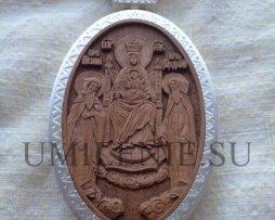 Панагия деревянная в латунном посеребренном окладе с цепью