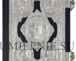 Евангелие среднее в кожаном переплете с накладками на церковно-славянском языке