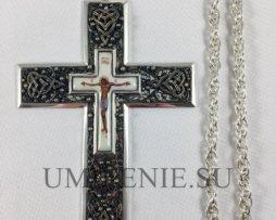 Крест наперсный из мельхиора с латунной цепью