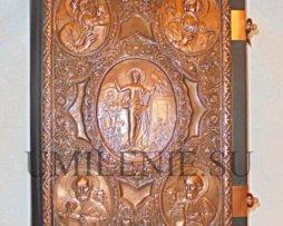 Евангелие напрестольное в кожаном переплете с накладками на церковно-славянском языке